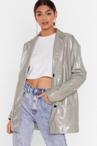 NASTY GAL Vinyl Without You Oversized Jacket in Sage – high shine blazer