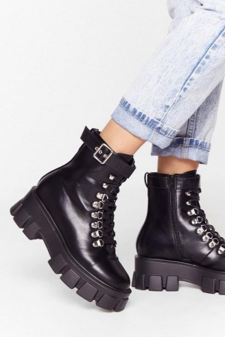 NASTY GAL Walk It Like I Talk It Faux Leather Cleated Boots in Black – chunky soles - flipped