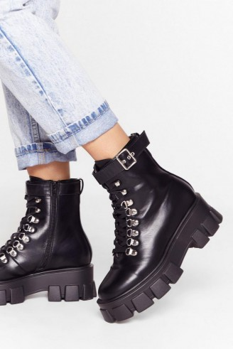 NASTY GAL Walk It Like I Talk It Faux Leather Cleated Boots in Black – chunky soles