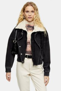 TOPSHOP Washed Black Denim Biker Zip Jacket – casual outerwear