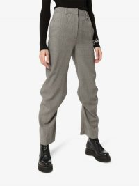 We11done High-Waisted Checked Pintuck Trousers in Grey