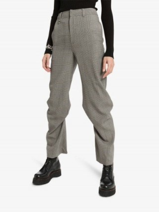 We11done High-Waisted Checked Pintuck Trousers in Grey - flipped
