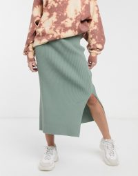 Weekday side split ribbed midi skirt in green
