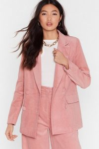 NASTY GAL We're So Cord-uroy Double Breasted Tailored Blazer in rose
