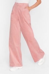 NASTY GAL We're So Cord-uroy Tailored Wide-Leg Trousers in rose