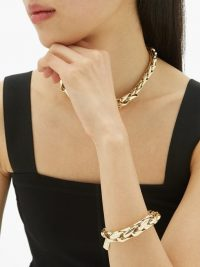 LAUREN RUBINSKI Wheat-chain gold bracelet – eye-catching bracelets