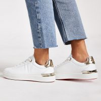 River Island White lace-up chunky platform trainers | sports luxe shoes