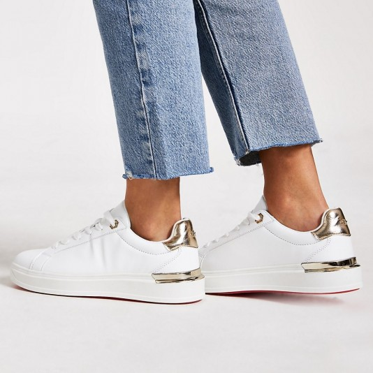 River Island White lace-up chunky platform trainers   sports luxe shoes