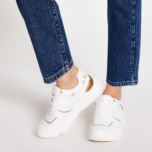 River Island White pearl lace-up chunky trainers   luxe look sneakers