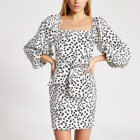 River Island White spot printed puff sleeve mini dress