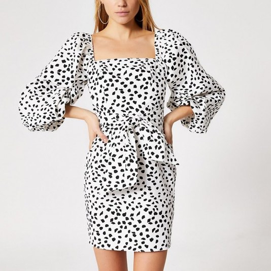 River Island White spot printed puff sleeve mini dress - flipped