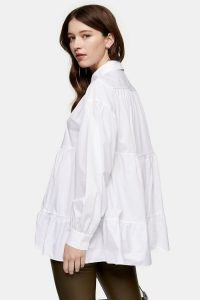 Topshop White Tiered Poplin Shirt | full blousy shirts