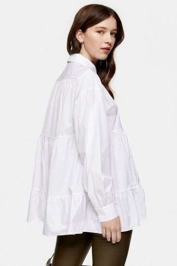 Topshop White Tiered Poplin Shirt | full blousy shirts - flipped