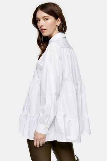 Topshop White Tiered Poplin Shirt | full blousy shirts