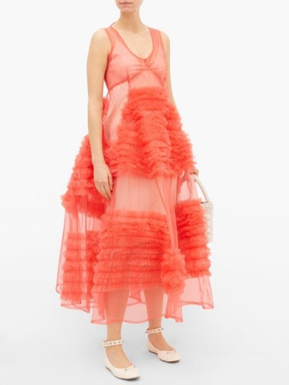 MOLLY GODDARD Whitney ruffled tulle dress in coral pink