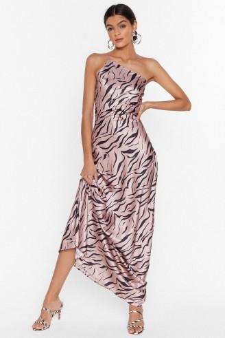 NASTY GAL Wild Kinda Love Zebra Maxi Dress in blush