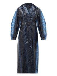 EMILIA WICKSTEAD Wilmer python-print PVC trench coat in navy ~ glamorous blue mac