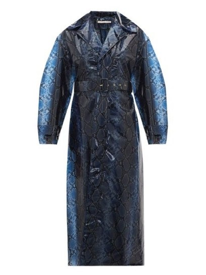 EMILIA WICKSTEAD Wilmer python-print PVC trench coat in navy ~ glamorous blue mac - flipped