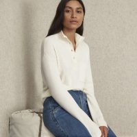 EVERLANE The ReCashmere Button Mockneck in Bone / henley style sweaters