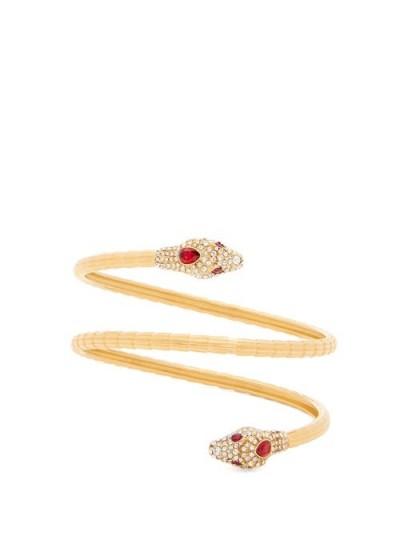 GUCCI Wraparound crystal-embellished snake cuff ~ designer jewellery