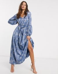 Y.A.S maxi dress with balloon sleeve IN BLUE FLORAL