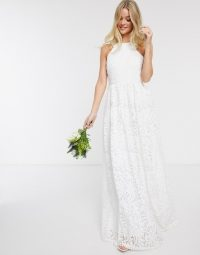 Y.A.S wedding maxi dress in cut out lace in white – bridal dresses