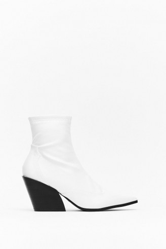 NASTY GAL You've Missed the Point Faux Leather Western Boots in white