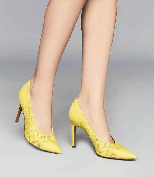 REISS ZENA MESH COURT SHOES YELLOW ~ spring courts - flipped