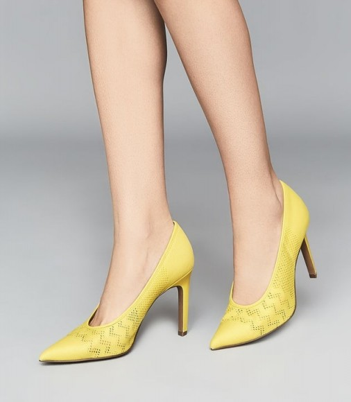 REISS ZENA MESH COURT SHOES YELLOW ~ spring courts