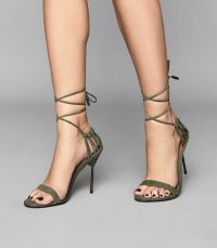 REISS ZHANE SUEDE STRAPPY WRAP SANDALS PALE GREEN / barely there high heels