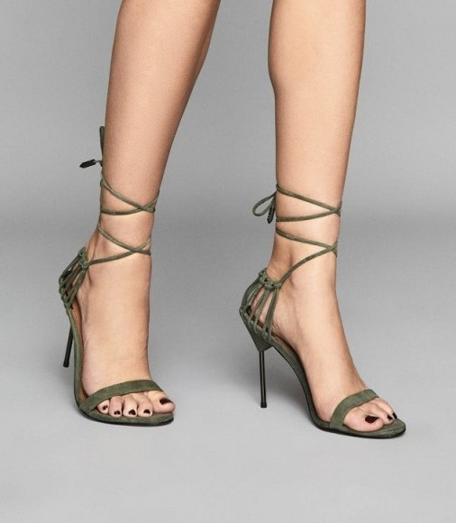 REISS ZHANE SUEDE STRAPPY WRAP SANDALS PALE GREEN / barely there high heels - flipped