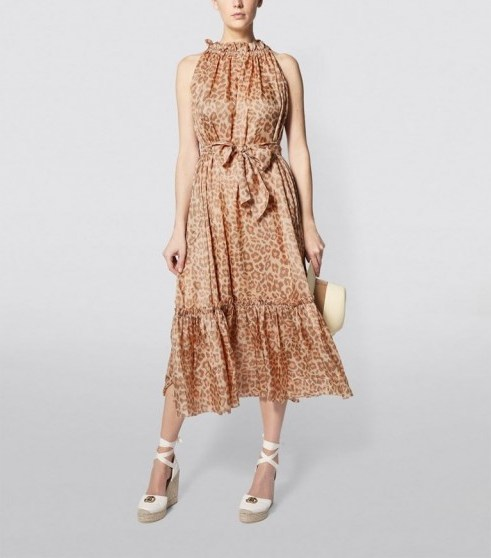 Zimmermann Kirra Tie-Shoulder Maxi Dress ~ leopard prints - flipped