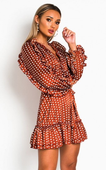 Ikrush Abbie Polka Dot Frill Dress in Rust – ruffle trim dresses