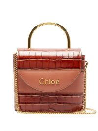 CHLOÉ Aby Lock crocodile-effect leather cross-body bag in tan | small luxe crossbody bags