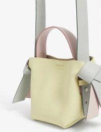 ACNE STUDIOS Musubi micro leather bag in pale yellow / colourblock bags
