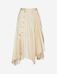 ACNE STUDIOS Pleated asymmetric gabardine midi skirt in cream beige