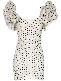 ALESSANDRA RICH polka dot puff-sleeve mini dress / ruched dresses