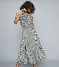 REISS ALEXANDRIA PRINTED MIDI DRESS BLACK/WHITE ~ monochrome event dresses
