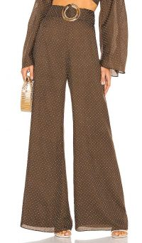 Alexis Antonin Pant Mocha Dot Linen – wide leg pants
