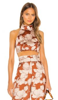 Alexis Bala Top in Sand Floral – high neck crop top