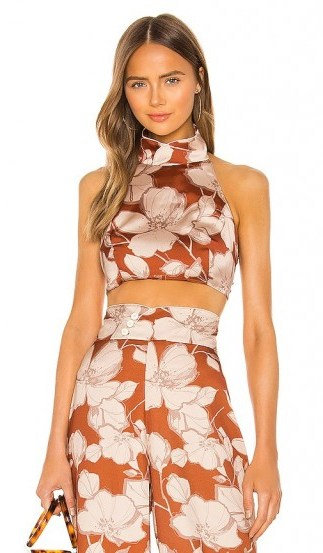 Alexis Bala Top in Sand Floral – high neck crop top - flipped