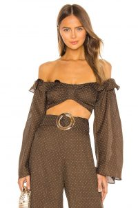 Alexis Ewa Top in Mocha Dot Linen