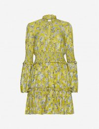 ALEXIS Rosewell floral-print crepe mini dress in citron ~ yellow ruffled high neck mini