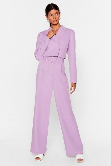 NASTY GAL x Josefine H.J All Worked Out Belted Wide-Leg Pants in Lilac