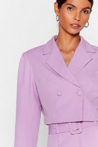 NASTY GAL x Josefine H.J All Worked Out Tailored Cropped Blazer in Lilac