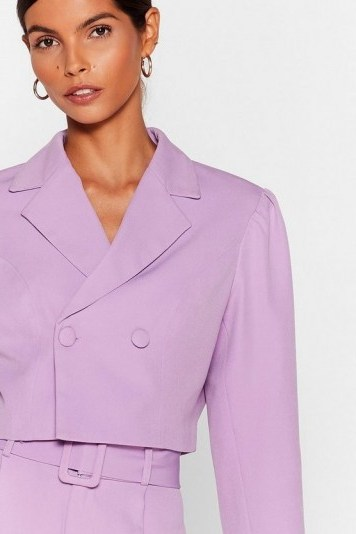NASTY GAL x Josefine H.J All Worked Out Tailored Cropped Blazer in Lilac - flipped