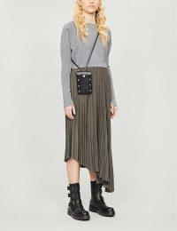 ALLSAINTS Evetta crepe midi dress in khaki/grey