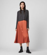 ALLSAINTS AGETA 2-IN-1 DRESS CHARCOAL / CINNAMON ~ slip dresses with pullover combo