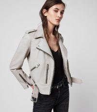 ALLSAINTS BALFERN LEATHER BIKER JACKET CEMENT GREY ~ luxe jackets