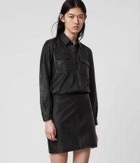 ALLSAINTS KADI LEATHER DRESS BLACK ~ LBD
